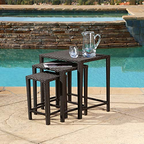 PH 24 Inch Brown Patio Side Table, Weather Resistant Outdoor Side Table Water Resistant Square Shaped Patio Coffee Table Nesting Table Set Incredibly Lightweight Powder-Coated Frame Stacked, Iron (Square Tables Nesting Iron)