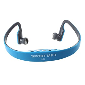 SODIAL(R) Cascos Auriculares Deporte Reproductor MP3 Inalambrico Tarjeta TF FM Azul