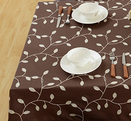 "Tina Cotton Linen Tablecloth Leaf Embroidered Table Cover for Dinner Kitchen Coffee, 52""x70"""