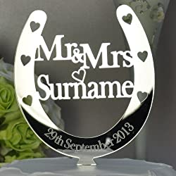Personalised Mr and Mrs Horseshoe Cake Toppers Wedding/Anniversary Keepsake Mirror Acrylic
