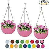 ALMI Hanna Hanging Planter 11 Inch [3 Pack] Round Plastic Decor Garden Resin Flower Pot Chain Basket for Plant, Planters for Plants, for Indoor and Outdoor, Pink