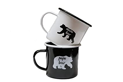 Morning Enamel Or Coffee For 212ozwhite Printed And Outdoor Camping Ideal Mugs Of Early Cold Black BeveragesSet E9DHI2