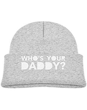 Kids Knitted Beanies Hat Who's Your Daddy Winter Hat Knitted Skull Cap for Boys Girls Black