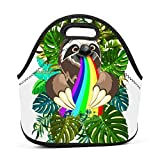 Dozili Sloth Rainbow Large & Thick Neoprene Lunch Bags Insulated Lunch Tote Bags