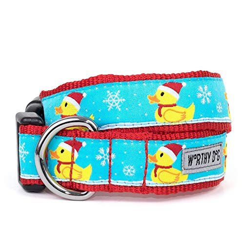 The Worthy Dog Santa Rubber Duck Ducky Merry Christmas! Adjustable Designer Pet Dog Collar, Red, MD (Christmas Duck Merry)