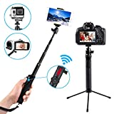 Selfie Stick Bluetooth - Zenwow Extendable Monopod with Tripod Stand and Built-in WirelessRemote Shutter for GoPro - iPhone X iPhone 8 8 Plus iPhone 7 iPhone 7 Plus Samsung Galaxy Series - DSLR