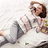 Junson Sleepsuits Spring and Autumn Woman Pajamas Long-Sleeved Korean Cotton Cute Home Service Female Summer Thin Section Home Service Suit Pink Gray (Size : XL) for You (Size : Small)