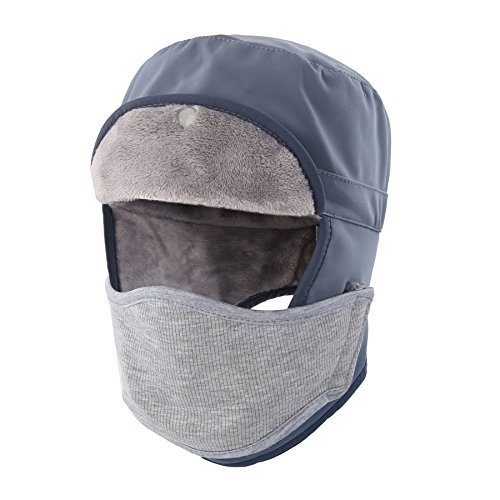 Hidden Face Mask (Home Prefer Mens Winter Warm Trapper Hat Waterproof Earflaps Russian Snow Ski Hat With Face Mask Gray)