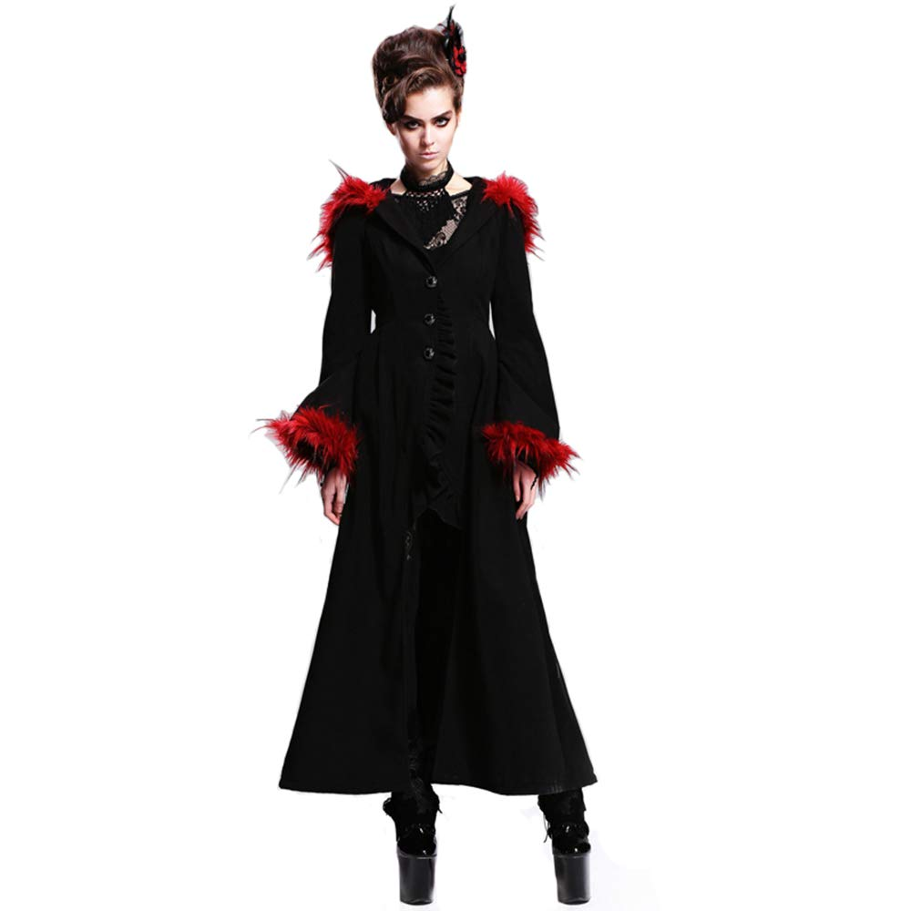Punk Gothic Autumn Winter Flocking Women Wool Jacket Coats Steampunk Black Red Hooded Fur Long Coats