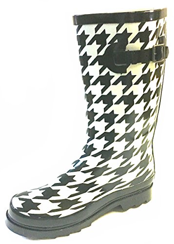 Shoes 18 Womens Classic Rain Boot With Buckle Prints & Solids (9/10, Houndstooth 5000)