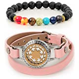 Divass essential oil bracelets for women birthday gifts for women stainless steel aromatherapy diffusers for essential oils leather bracelet Christmas gifts for women sister gifts for sister