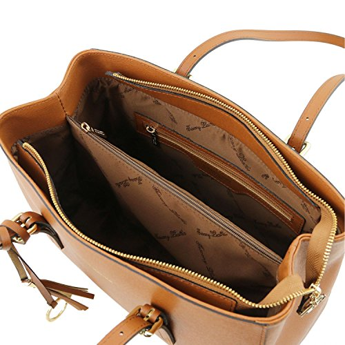 Tuscany Leather TL Bag - Borsa a tracolla in pelle Saffiano - TL141518 Cognac