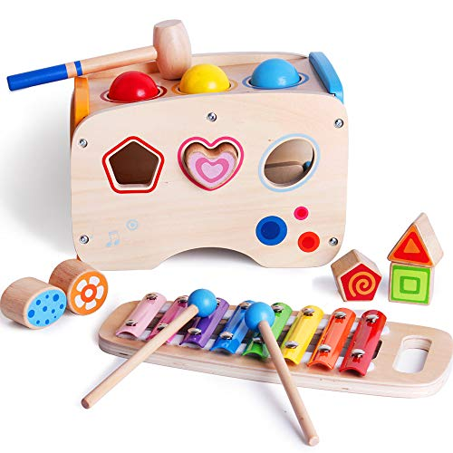 bodolo 3 in 1 Wooden Educational Set Pounding Bench Toys...