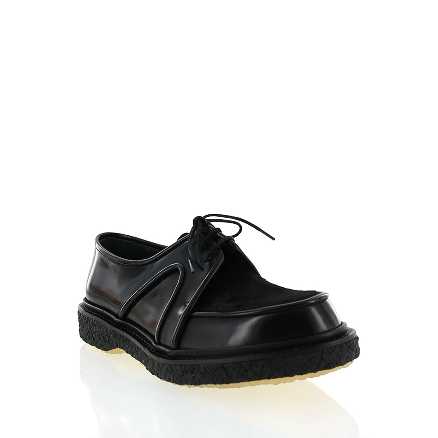 Adieu Black Leather Oxford With Black Pony Hair Plug