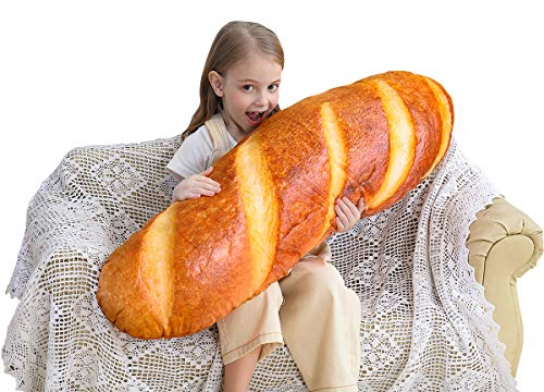 40 in 3D Simulation Bread Shape Pillow Soft Lumbar Back Cushion Funny Food Plush Stuffed Toy for Home Decor Gift (Pillow Animal Body)