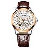 Jiusko Men's 21 Jewel Automatic 24 Hr Exhibition Caseback Skeleton Brown Leather Business Dress Watch