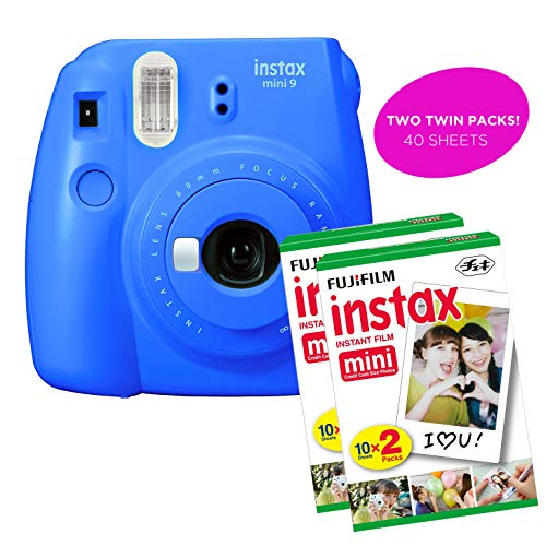 Fujifilm Instax Mini 9 Instant Print Camera(Renewed) Plus Twin Pack Film Starter Bundle | 10 Sheets x 2 = 20 White Frame Instant Exposure Photograph Sheets (Cobalt Blue)