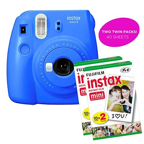 Fujifilm Instax Mini 9 Instant Print Camera(Renewed) Plus Twin Pack Film Starter Bundle   10 Sheets x 2 = 20 White Frame Instant Exposure Photograph Sheets (Cobalt Blue)