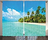 Cheap Ambesonne Ocean Decor Collection, Tropical Island Photo with Sandy Beach and Palm Tree Nature Exotic Holiday Theme, Living Room Bedroom Curtain 2 Panels Set, 108 X 84 Inches, Turquoise Green White