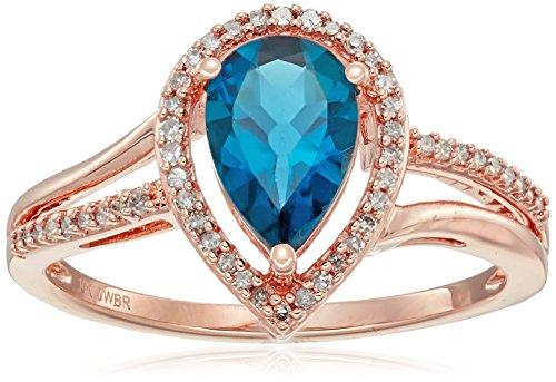 10K Rose Gold London Blue Topaz Pear Shape with Diamond R...