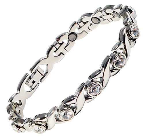 Magnetic Bracelet for Women Silver Finish Natural Pain Relief Therapy by Mind n - Bracelets Body Bling