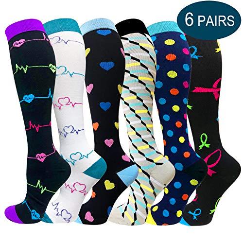 Compression Socks For Men & Women - 3/6 Pairs - Best for Running,Medical,Sports,Flight Travel, Nurse - 20-30mmHg (Large/X-Large, Multicoloured 12)