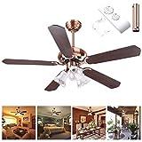 48'' 5 Blades Ceiling Fan w/ Light Kit Antique Copper Reversible Remote Control