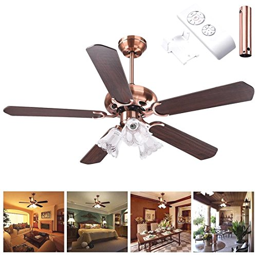 48'' 5 Blades Ceiling Fan w/ Light Kit Antique Copper Reversible Remote Control by Generic