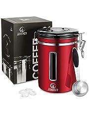JENNIMER Kaffebehållare lufttät rostfritt stål stor med genomskinlig fönsterbehållare fräschare bönor och markar för längre behållare med datumspårare, CO2-släpp-ventil och mätskopa (röd)