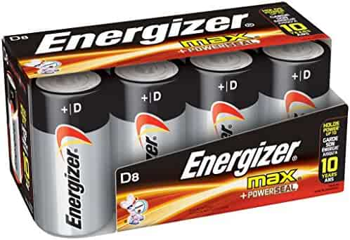 Energizer D Cell Batteries, Max Alkaline D Battery Size, (8 Count), Clear