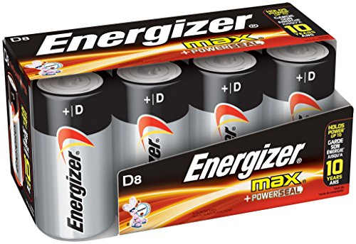 (Energizer D Cell Batteries, Max Alkaline D Battery Size, (8 Count), Clear)