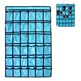 Loghot Wall Door Pocket Chart Classroom Storage Organizer with Hanging Hook and 36 Clear Pockets (Blue)