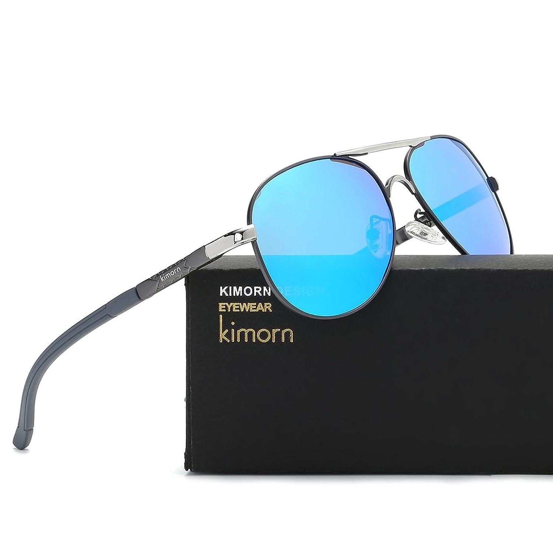 Kimorn Polarisé Lunettes De Soleil Hommes Rétro Métal Cadre 5 Couleurs Des lunettes K0553 (Or&Noir) mdabfqXV