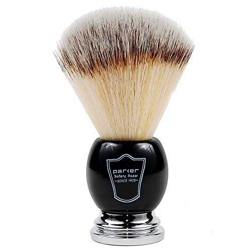 Parker Safety Razor SYNTHETIC Bristle Shaving Brush with Deluxe Black and Chrome Handle & StandNEW FOR 2016