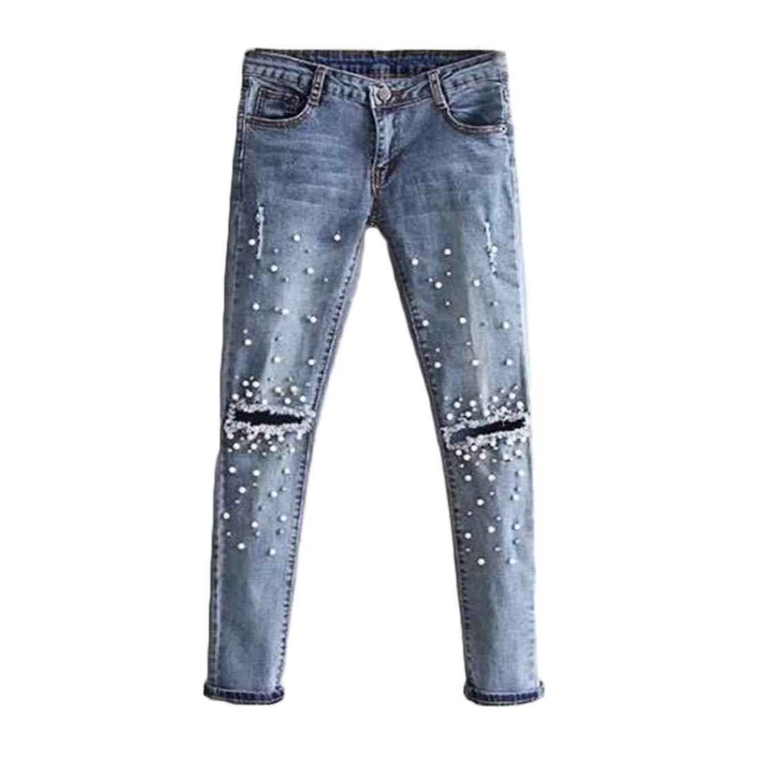 Inlefen Pantalones Vaqueros de Mujer Agujero Recto con ...
