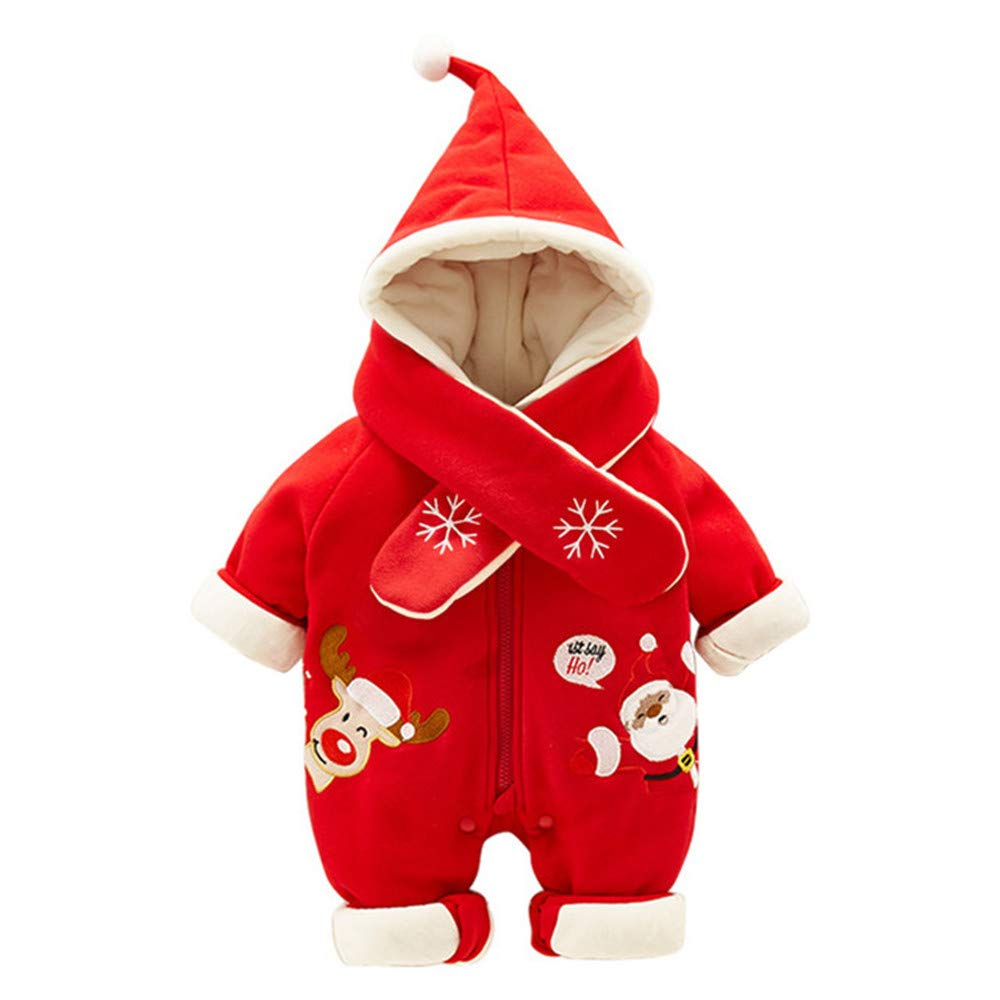 ZAMAC Unisexe bébé Barboteuses Motif de père Noël Wapiti à Capuchon avec Chapeau Foulard Coton Combinaison d'hiver Nouveau-né dans Un Costume de Neige Tenues Body