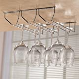 """Stemware Rack Under Cabinet Wine Glass Holder Hanging Rack, Chrome Finish, 3 Rows, 13.8"""", Hold Up To 9-12 Wine Glasses"""