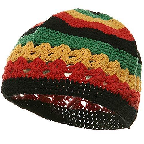 Knit Kufi Hat - Koopy Cap - Crochet Beanie (Rasta) ()