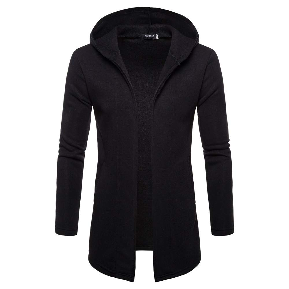 Kobay Hommes Encapuchonn/é Veste en Trench Uni Veste Cardigan Outwear
