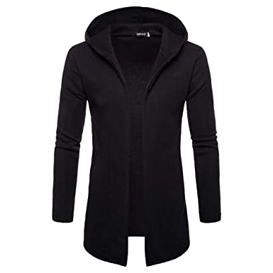 Clearance Forthery Mens Trench Coat Winter Pullover Long Jacket Overcoat Cardigan(Black, US Size
