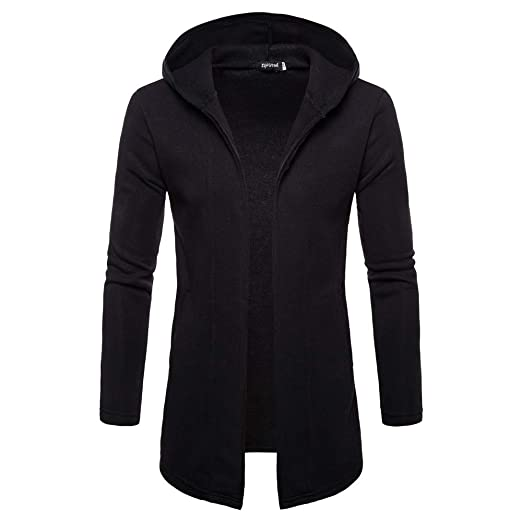 iYYVV Fashion Mens Hooded Solid Trench Coat Jacket Cardigan Long Sleeve Outerwear