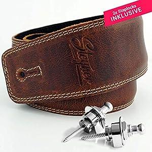 Steyner® Premium Leder Gitarrengurt – Bassgurt | gepolstert u. breit | inkl. 2x Straplocks und hochwertiger Geschenkdose…