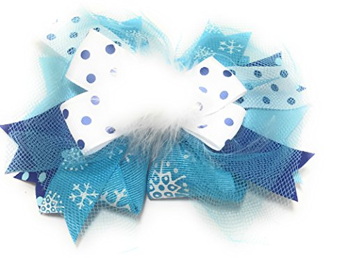 Puff Bow (Chicky Chicky Bling Bling Girls Marabou Puff Couture Hair Bow turquoise snowflake print)