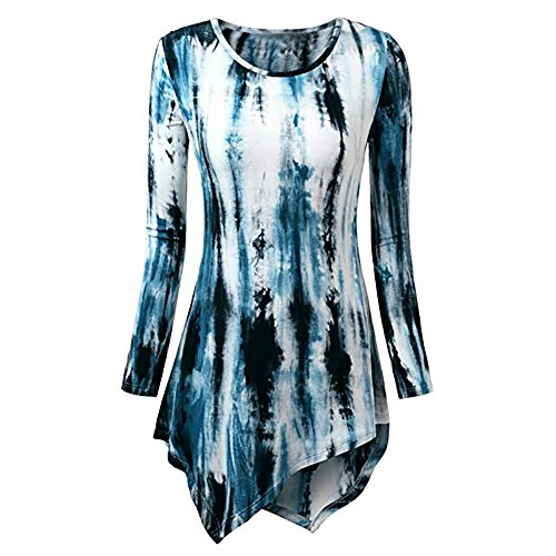 Wintialy Women Fashion O-Neck Print Long Sleeve Loose Tops T-Shirt Blouse Dark -