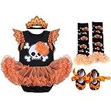OBEEII Baby Girls 1st Halloween Costume Pumpkin Skull Flare Sleeve Ropmer Ruffle Tutu Skirt with Headband Leg Warmer Shoes Christmas Cosplay Party Fancy Dress for Newborn Toddler 3-6 Months
