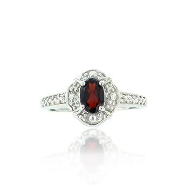 1b7302cb5a511 Amazon.com: Chuvora Rhodium Plated 925 Sterling Silver Red Garnet ...