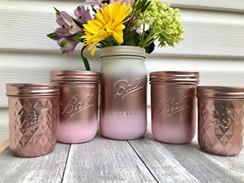 Set of 5 Rose Gold and Blush Pink Painted Mason Jars Centerpieces, Baby Shower, Rustic Wedding Supplies, Bridal, Shabby Chic (Nursery Set Vanity)