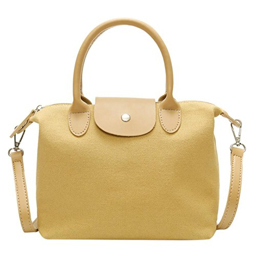 Shoulder Totes Shopping Handbag Messenger Canvas Casual Yellow Bag Crossbody Ecotrump Women Y8RqEYw