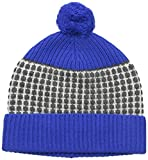 Sofia Cashmere Women's 100% Cashmere Two Color Thermal Stitch Hat with Contrast Trims, Cobalt Combo, One Size