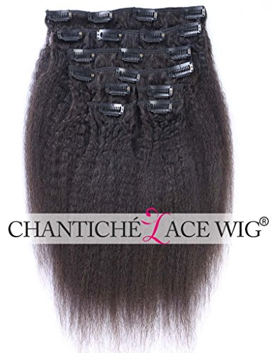 Chantiche Brazilian Italian Yaki Clip In Remy Human Hair Extensions for Women Hair Style Clip on Hairpieces 8pcs Color #1B 91g 18inches